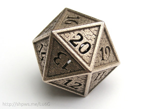 Hedron D20 SPINDOWN (Hollow), balanced die in Stainless Steel