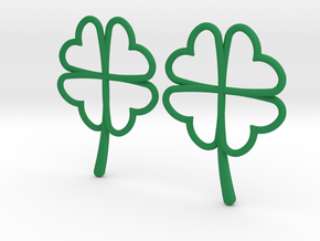 Wireframe Clover Earrings in Green Strong & Flexible Polished