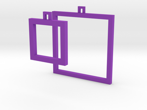 Square Earrings - Asymmetrical in Purple Strong & Flexible Polished