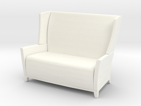 Aspen Wing Back Settee 1-12 in White Strong & Flexible Polished