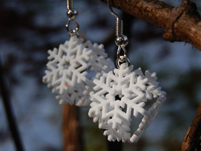 Snowflake Earrings 3 in White Strong & Flexible