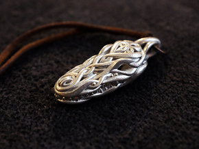 Crocodile Head Pendant in Polished Silver