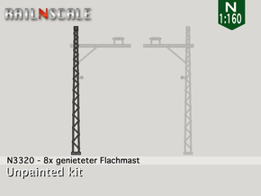 8x genieteter Flachmast (Epoche I - N 1:160) in Frosted Ultra Detail