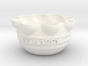 Flower pot in White Strong & Flexible Polished