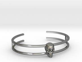 Double Stranded Single Skull Cuff (6.5 Inches) in Premium Silver