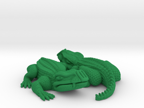 Reptiles, YingYang, with magnet hole. in Green Strong & Flexible Polished