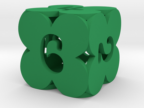 "d6 ""Six Faced Clover"" in Green Strong & Flexible Polished"