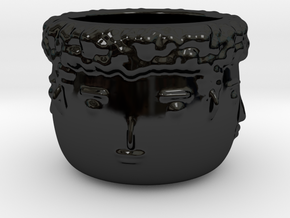 4 Face Plant Pot in Gloss Black Porcelain