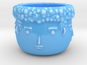 4 Face Plant Pot in Gloss Blue Porcelain