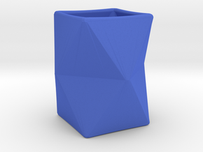 Origami Vase in Blue Strong & Flexible Polished