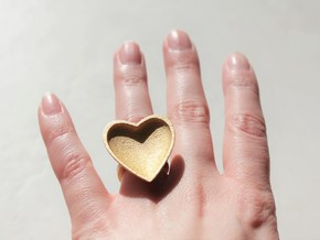 Curved Heart Ring 1.65 Metal  in Polished Gold Steel