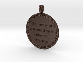 The Journey Of A Thousand | Jewelry Quote Necklace in Matte Bronze Steel