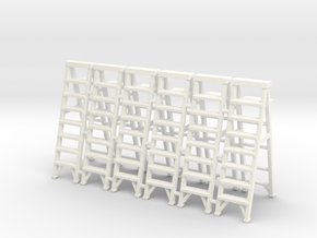Stepladder 02. 1:64 scale in White Strong & Flexible Polished