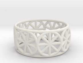 Dharma Wheel Ring in White Strong & Flexible
