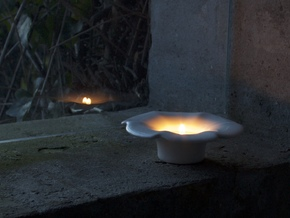 Flower - Tea Light in Gloss White Porcelain