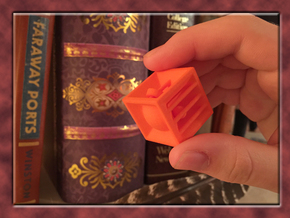Pyramid Cube Tactile Dice in Orange Strong & Flexible Polished