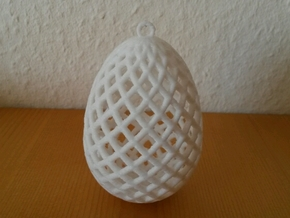 Easter Egg Ornament in White Strong & Flexible Polished