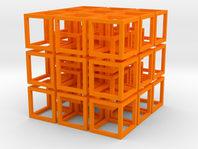 Interlocked Cubes in Orange Strong & Flexible Polished