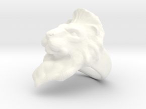Lion Ring Size 7 in White Strong & Flexible Polished