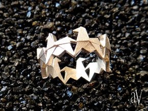 Carousel Origami Horses Ring in Raw Silver