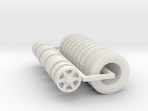1/64 6 Spoke Dayton 22.5 Wheels And Tires in White Strong & Flexible