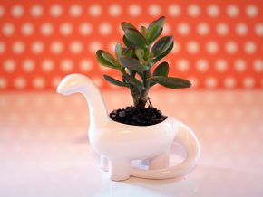 Porcelain Dinosaur Candeholder Planter in Gloss White Porcelain