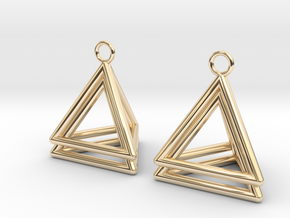 Pyramid triangle earrings type 4 in 14k Gold Plated