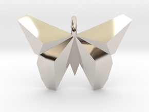 Origami Butterfly in Rhodium Plated