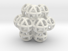 12 Vector Equilibrium Spheres Fractal Sacred Geome in White Strong & Flexible