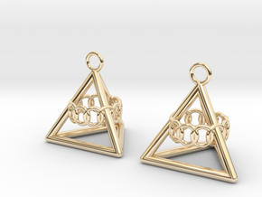 Pyramid triangle earrings serie 3 type 6 in 14k Gold Plated
