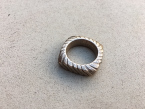 PILLOW CARVED  RING WITH RELIEF SIZE 6.5 in Stainless Steel