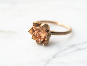 Size 7- Succulent Stacking Ring No. 4 in Raw Bronze