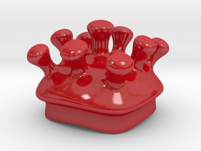 Microbe Sugar Bowl Lid in Gloss Red Porcelain