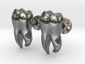 Tooth Cufflinks in Polished Silver
