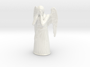 Crying Angel in Gloss White Porcelain