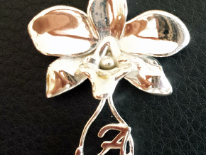 Orchid pendant in Polished Silver