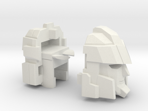 Blocky Driller's Head Combiner Tank Version in White Strong & Flexible