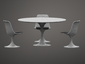 1:24 Tulip Table with 4 Chairs - Eero Saarinen in White Strong & Flexible