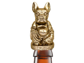 French Bull Dog Buddha Bottle Opener in Polished Gold Steel