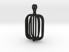 Rectangular crystal therapy cage in Black Strong & Flexible