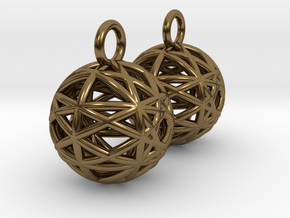 Armilliary Earrings in Polished Bronze
