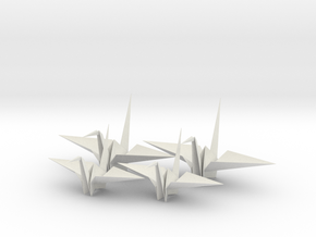 Four Fold Origami Crane - Two Scales. in White Strong & Flexible