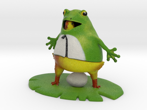 "Chic in a Frog Suit - 4"" Tall in Full Color Sandstone"