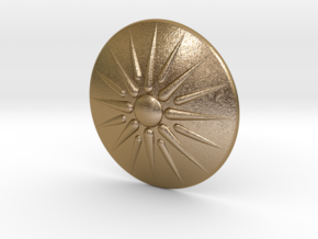 Sun of Vergina Belt Buckle, Simplified Center in Polished Gold Steel
