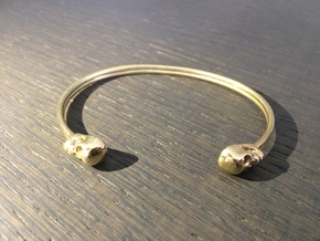 Double Banded Skull Cuff (7.0 Inches) in Polished Brass