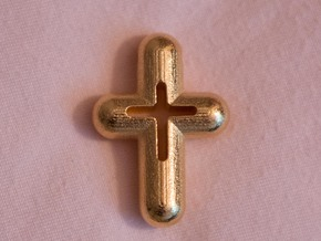 Cross in Polished Gold Steel
