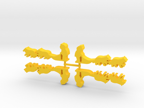 Game Piece, Dog Sled, 4-set in Yellow Strong & Flexible Polished