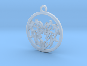 Circle Heart Pendant in Frosted Extreme Detail