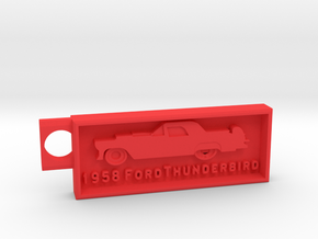 1958 Ford Thunderbird Key Chain in Red Strong & Flexible Polished
