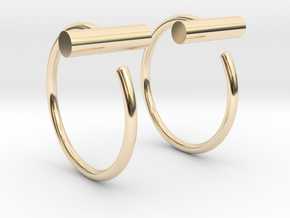 Round Bar Mini Hoops in 14K Gold